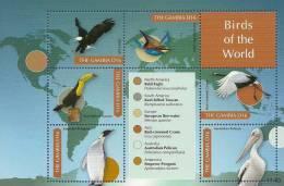 gam1140sh Gambia 2011 Birds of Africa s/s eagle Toucan Penguin Bee-eater Crane Pelican