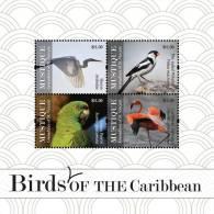 sgm1108sh Mustique St. Vincent 2011 Birds s/s Crane Flamingo Parrot
