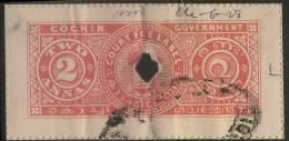 Cochin_Court Fees_2 Annas_Maharaja Sri Ravi Varmah - Type 25 - KM 373 - Cochin