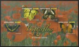 sie1017sh Sierra Leone 2010 Butterflies s/s Flower