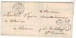 Villemur (30) 1852 , Taxe Doubles Traits 25 Cts.....cursive Colomiers Au Verso...texte - Marcophilie (Lettres)
