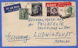 LP Brief AUSTRALIA > GERMANY 195?, Schöne 4 Fach Frankierung - 1952-65 Elizabeth II: Dezimalausgaben (Vorläufer)