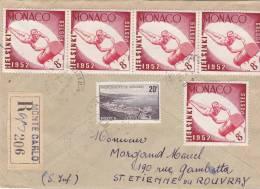 Lettre Cover, MONACO, 1953, RECOM. MONTE CARLO Pour La FRANCE,  /2047 - Poststempel