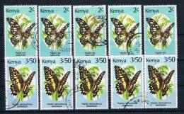 Kenia 1988 Schmetterlinge Mi.Nr. 421/24 Je 5 Mal Gestempelt - Kenia (1963-...)