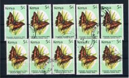 Kenia 1988 Schmetterlinge Mi.Nr. 426 10 Mal Gestempelt - Kenia (1963-...)