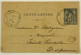 Carte Lettre 15c Sage 90-CP2, De St-Romain Le Noble (47) Boite Rurale E Caudecoste --> Ste-Livrade - 1877-1920: Période Semi Moderne