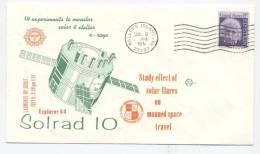 USA - Lancement Du Satellite  SOLRAD 10 (Explorer 44) -  Oblitération De WALLOPS ISLAND 9 Juillet 1971 - Europe