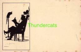 CPA ILLUSTRATEUR CARUS HOMME ART NOUVEAU CHAT SILHOUET ** ARTIST SIGNED SILHOUETTE CARD MAN & CAT - Silhouettes