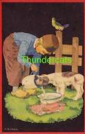 CPA ILLUSTRATEUR PETIT GARCON & CHIEN ** KIRCHBACH ** ARTIST SIGNED LITTLE BOY WITH DOG - Dessins D'enfants