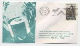 USA - Lancement Du Satellite ESSA 8  - Oblitération VANDENBERG AFB - 15 Décembre 1968 - FDC & Commémoratifs