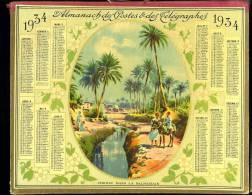 Calendrier 1934 Double Cartonnage, Scène Orientaliste, Chemin Dans La Palmeraie. - Calendriers