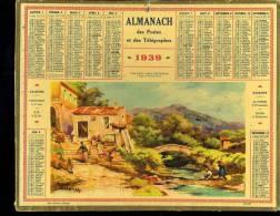 Calendrier 1939 Vallée Près De Menton, Alpes Maritimes, Illustrateur Lessieux. - Big : 1921-40