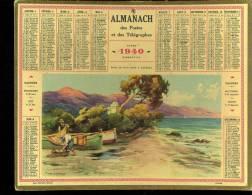 Calendrier 1940, Bord De Mer Dans L'Estérel Illustrateur Lessieux. - Calendriers