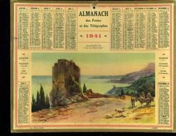 Calendrier 1941, Roquebrune Alpes Maritimes, Vue Sur Monte Carlo Illustrateur Lessieux - Big : 1941-60