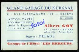 GRAND GARAGE DU KURSAAL GENEVE SWITZERLAND SUISSE AGENCE DELAGE - Cartoncini Da Visita