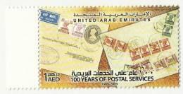 UNITED ARAB EMIRATES UAE MNH 1909 - 2009 100 YEARS OF POSTAL SERVICE STAMP INDIA KGV1 STAMPS O/P PAKISTAN ON STAMP - Emirati Arabi Uniti