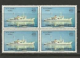 "Turkey; 1977 ""Hora"" Geophysical Exploration Vessel (Block Of 4) - 1921-... Republic"