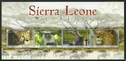 sie0915sh Sierra Leone 2009 Monkey Hippo Lion Zobra Leopard 4v
