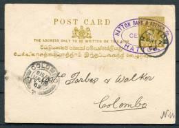 1902 Ceylon 2 Cent Stationery Postcard Hatton Bank - Colombo - Ceylon (...-1947)