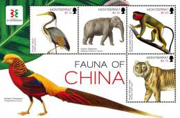 mot1110sh Montserrat 2011 Fauna of China Bird Cran Elephant Monkey Tiger s/s