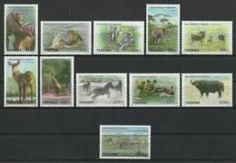 tan1026c0 Tanzania 2011 Wild Animals 13v Monkey Lion Elephant Zebra Dog