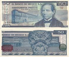 Mexico P-73, 50 Pesos, Benito Juárez / Aztec Temple And Wind Goddess - Mexique