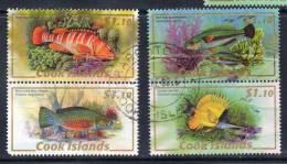 Cook Island, Jaar 2008, Samenhangend, Vissen, Tanding Bekijken Afgerond Hoekje,  Gestempeld, Zie Scan - Cook