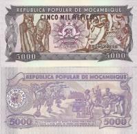 Mozambique P-133, 5000 Metricals, Carvings / Warrior Dancers, Musicians $5CV - Mozambique
