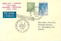 Finland Cover 1956 Cancelled Par Avion Helsinki - Moskva - Airmail