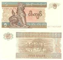 "Myanmar P-70b, 5 Kyats, Chinze /  ""Chinlone"" (cane Ball Game) - Myanmar"