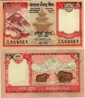 Nepal P-53c, 5 Rupee, King Birendra Bir Bikram, Taleju Temple / Yaks In Himalaya - Nepal