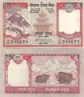 Nepal P-60, 5 Rupee, Mt Everest, Taleju Temple / Yaks In Himalayas, 2009 - Nepal