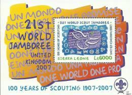 sie0702ss Sierra Leone 2007 100 Year of The World Scout Movement s/s Bird