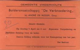 Uitnodiging Vinderhoute - Boldersmaatschappij De Verbroedering - Non Classés