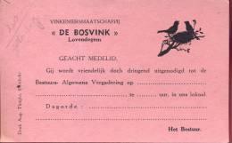 Uitnodiging Vinkeniersmaatschappij De Bosvink - Lovendegem - Non Classés