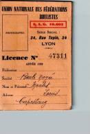 Licence UNION NATIONALE Des Fédérations Boulistes Année 1933 - Sports & Tourisme