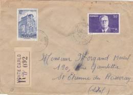 Lettre Cover, MONACO, 1953, RECOM. MONTE CARLO Pour La FRANCE, /3078 - Poststempel