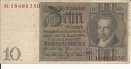 GERMANY GERMANIA 10 MARCHI REICHSMARK 1923/36 Circulated Circolata Banknote RARE - [ 4] 1933-1945 : Third Reich