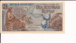 INDONESIA 2 1/2 DUA SETANGAH Rupiah Rupie 1961 Uncirculated FDS Bill Banknote Banconota - Indonésie