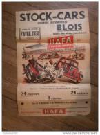 Belle Affiche 40x60 STOCK CAR De BLOIS 7 Avril 1958 Pub Huiles HAFA 6 Voitures Dont Ford - Affiches
