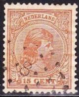 1891 Puntstempel 8 (Arnhem) Op Prinses Wilhelmina Hangend Haar 15 Cent Bruin NVPH 39 - Poststempels/ Marcofilie