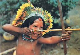 Brasil Nativo- Menino Juruna Flechando- Reservaindigena Do Xingu - Arc -  Fleches - Plumes - Brazil
