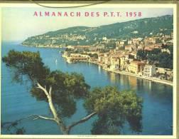 Calendrier 1958,Double Cartonnage,  Baie De Villefranche Alpes Maritimes Et Port Breton, Bretagne. - Big : 1941-60