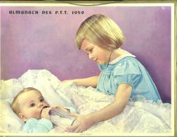 Calendrier 1958,Double Cartonnage,2 Belles Scènes Enfantines, Fillette Et Bébé, Fillette Oeufs De Paques,chien Colley. - Big : 1941-60
