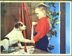 """Calendrier 1964 Double Cartonnage Scènes Enfantines Enfant Et Chien """"le Bon Petit Maître"""", Fillette Et Perruche """".la Pet - Big : 1961-70"""