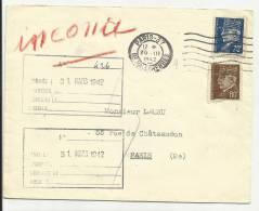 """1942 - ENVELOPPE Avec CACHET """"INCONNU"""" (AU DOS) - PETAIN - Francia"""