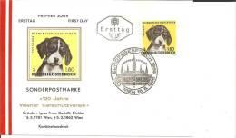 A-RII134 /- ÖSTERREICH -  120 Jahre Wiener Tierschutz ( Marke Mit  Hund) FDC 1966 - 1945-60 Briefe U. Dokumente