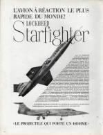 Publicité  LOCKHEED  Starfighter  U.S. AIR FORCE - Reclame