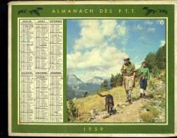 """Calendrier 1959 Double Cartonnage, Chasseurs Et Chien """"plein Air"""", Pécheurs """"détente"""" - Grand Format : 1941-60"""