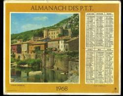 """Calendrier 1968 Double Cartonnage, Ardèche Vogué, Au Dos :  Alpinisme """"en Cordée"""" - Calendars"""